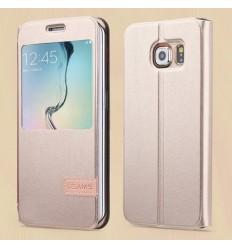 Калъф тип тефтер страничен S-View USAMS Samsung Galaxy S6 Edge G925 златен