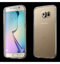 Калъф с прозрачно дъно от пластмаса и прозрачна рамка от силикон за Samsung Galaxy S6 Edge G925