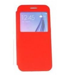 Калъф тип тефтер страничен Window Flip Cover Flexi Samsung Galaxy S6 G920 червен