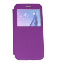 Калъф тип тефтер страничен Window Flip Cover Flexi Samsung Galaxy S6 G920 лилав