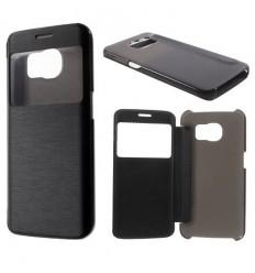 Калъф кожен тип тефтер страничен View Window Samsung Galaxy S6 Edge G925 черен