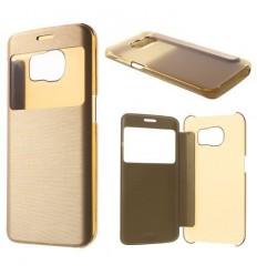 Калъф кожен тип тефтер страничен View Window Samsung Galaxy S6 Edge G925 златен