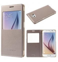 Калъф тип тефтер страничен Window View Samsung Galaxy S6 G920 златен