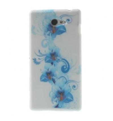 Гръб мек шарен/бутиков Sony Xperia M2 синя лилия