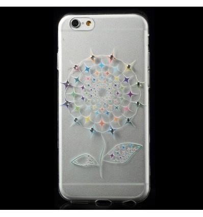 Гръб мек шарен/бутиков- iPhone 6 (4.7) Super Slim цвете с камъни