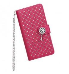 Луксозен страничен флип с кристали Sony Xperia Z3 розов