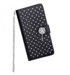 Луксозен страничен флип с кристали Sony Xperia Z3 черен