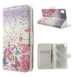 Луксозен страничен флип с кристали Пеперуди Sony Xperia Z3 розов