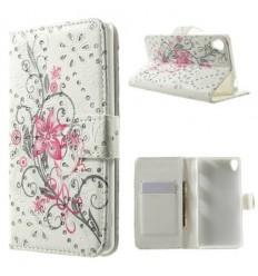 Луксозен страничен флип с кристали Цветя Sony Xperia Z3 розов