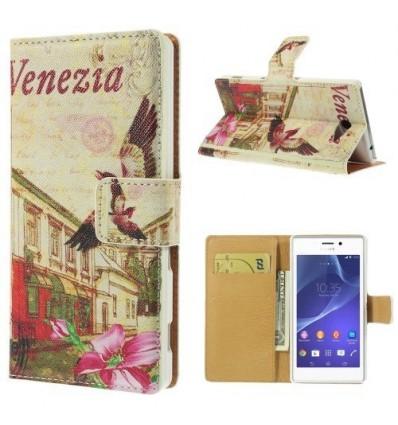 Флип страничен шарен/бутиков Sony Xperia M2 Венеция