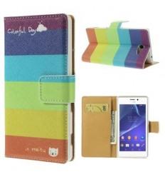 Флип страничен шарен/бутиков Sony Xperia M2 дъга