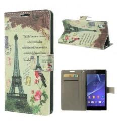 Флип страничен шарен/бутиков Sony Xperia Z2 айфелова кула