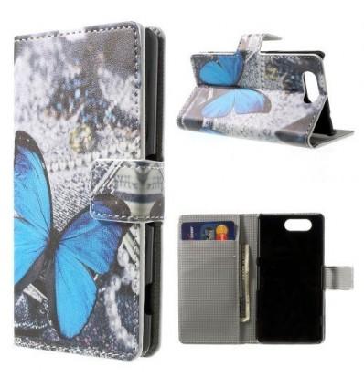 Флип страничен шарен/бутиков Sony Xperia Z3 compact пеперуда