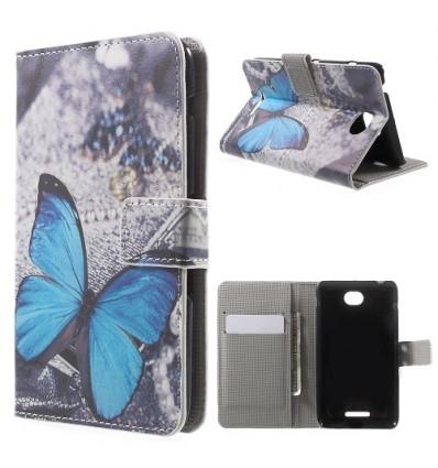 Калъф за Sony Xperia E4 тип тефтер страничен Пеперуда