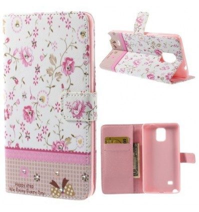 Флип страничен с кристали Розови цветя Samsung Galaxy N910 Note 4