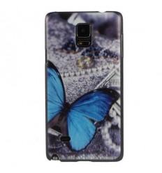 Гръб твърд шарен/бутиков за Samsung Galaxy N910 Note 4 синя пеперуда