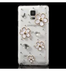 Луксозен гръб с кристали Бели Цветя Samsung Galaxy N910 Note 4