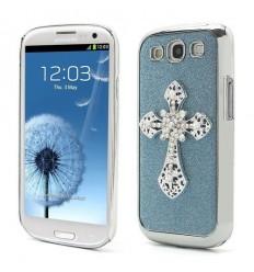 Стилен 3D алуминиев гръб Кръст Samsung i9300 Galaxy S3 син