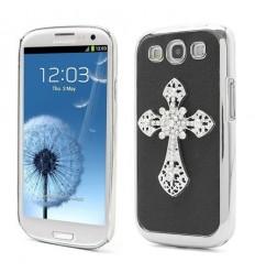 Стилен 3D алуминиев гръб Кръст Samsung i9300 Galaxy S3 черен