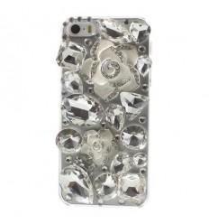 Луксозен 3D Diamond гръб Camellia Flower бял iPhone 5s 5