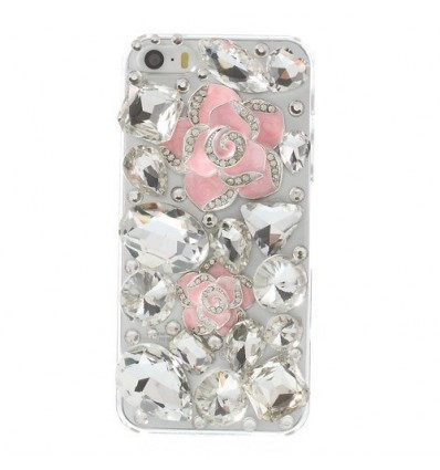 Луксозен 3D Diamond гръб Camellia Flower розов iPhone 5s 5
