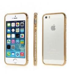 Луксозен метален бъмпер Diamond Inlaid 2in1 Gold iPhone 5s 5