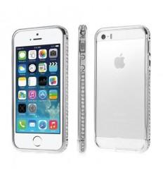 Луксозен метален бъмпер Diamond Inlaid 2in1 Silver iPhone 5s 5